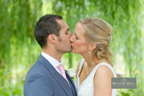 Winchester wedding photography, Martin Bell Photography, bride and groom kiss