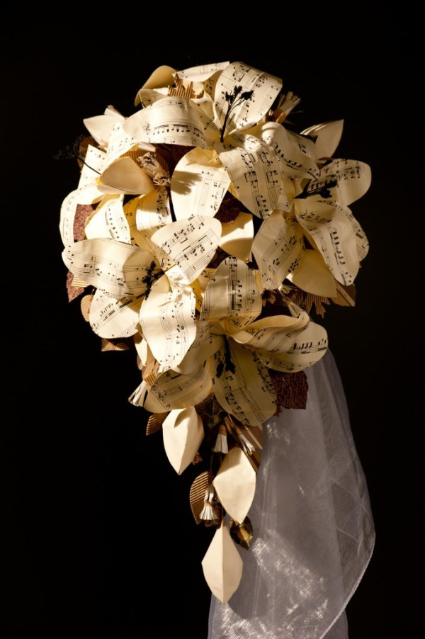 If music be the food of love bouquet, paper bridal flowers, jackdaw decor, image credit - H2 Photography