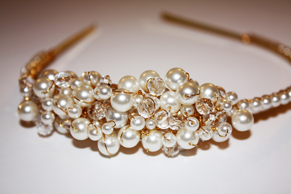 Faith cluster side headband, pearl and diamante headband, susan dick jewellery, bridal accessories