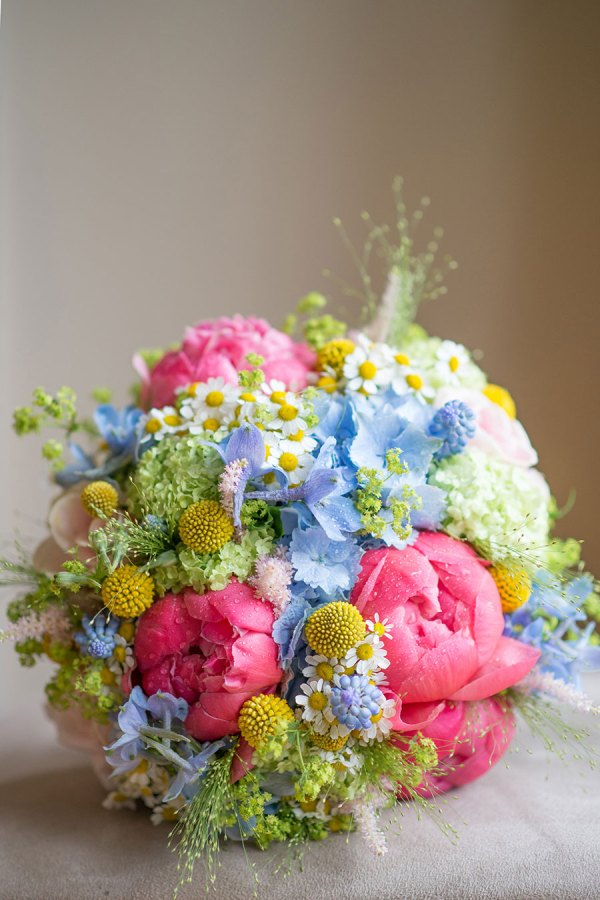 pastel brights bridal bouquet, hearts and flowers denton, georgina harrison photography