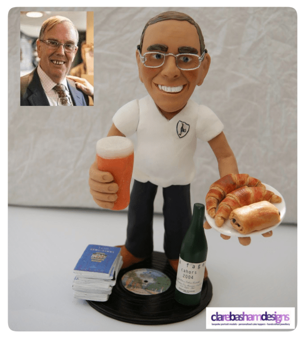 Mike 60th Birthday Caricature Cake Topper , personalised  cake topper, clare basham designs