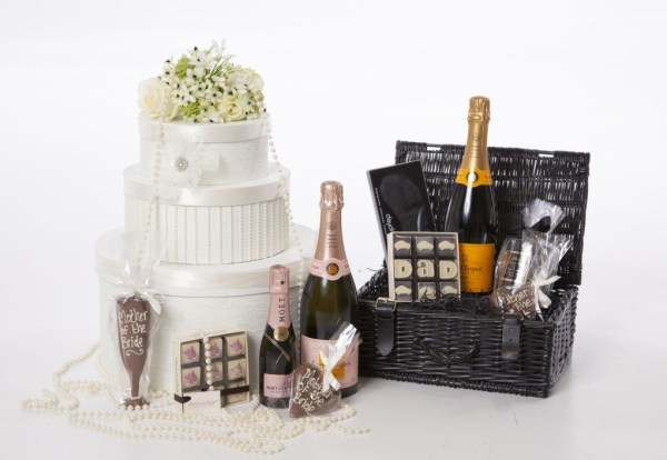 Mother & Father of the bride display, luxury wedding gift, mother and father of the bride hampers, beau brides and weddings