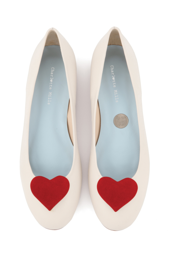 Anabel with red heart, charlotte mills bridal, bridal shoe, wedding shoe, bridal footwear