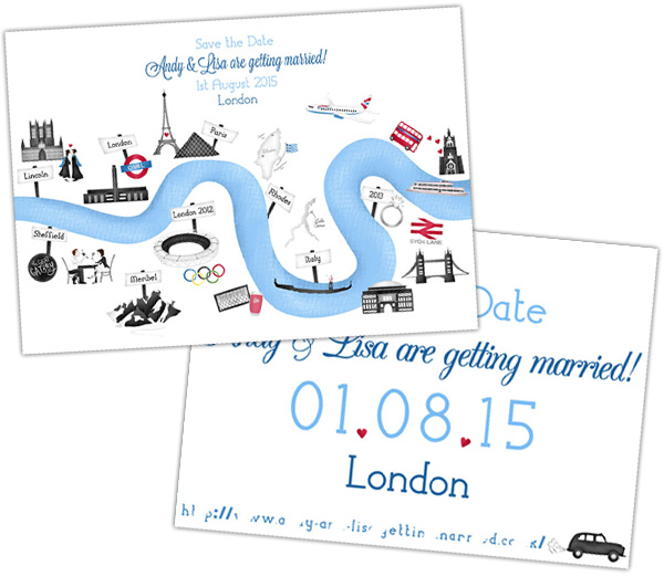 Hannah-Weeks-Illustration, Love story-Save-the-Date, illustrated wedding stationery