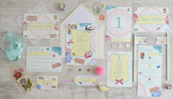 Vintage Scrapbook design, swoon at the moon, wedding stationery