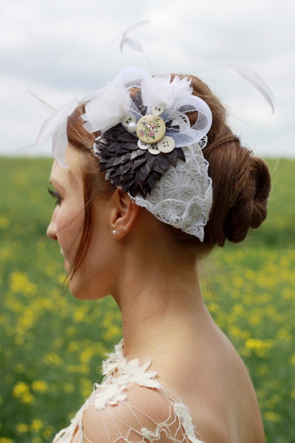 Leather spray headpiece, kate slater lace, contemporary lace