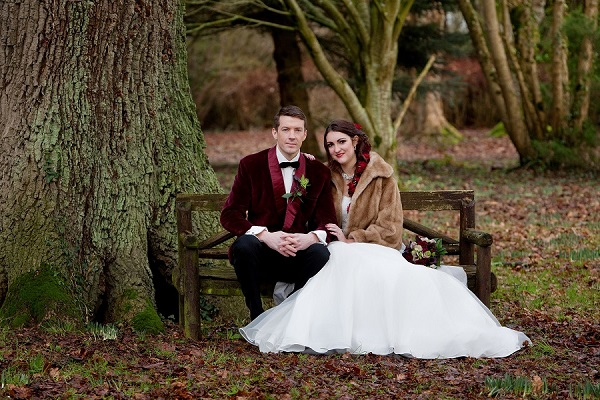Deer Park Bride & Groom up close seated