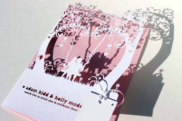 Illustrative  wedding stationery,  laser cut wedding stationery , The Butterfly and the Belljar
