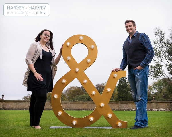 Harvey and Harvey Photo, illuminated letters, engagement shoot, stoke rochford hall, mad philomena