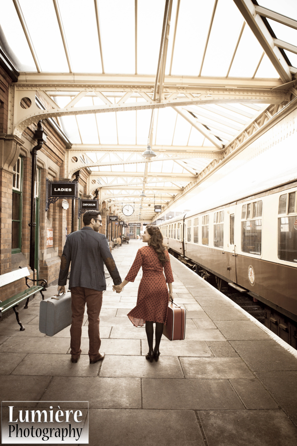 Lumiere Photography, railway engagement shoot, 1940's inspired engagement shoot, loughborough  grand central railway station
