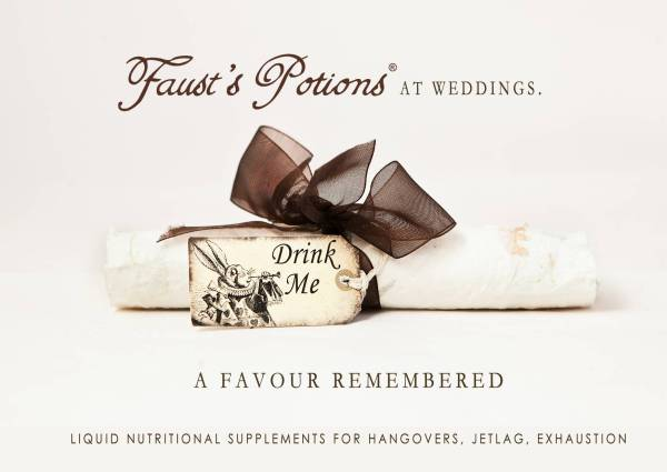Fausts potions, apothocary style wedding favour, wedding favours, nutritional supplement