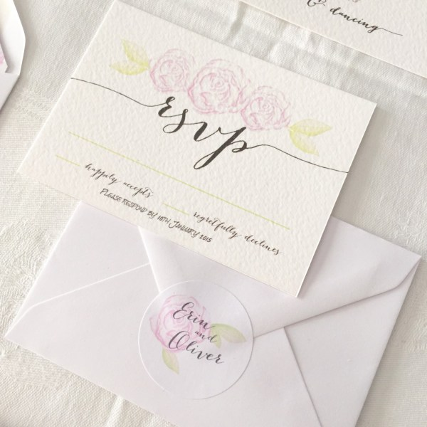 Watercolour RSVP, Coral & Slate, Bespoke prints, Wedding Stationery, Signage
