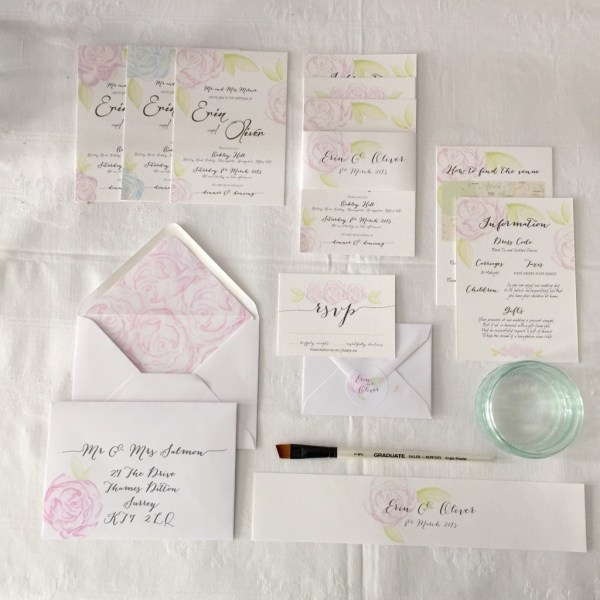 Watercolour Stationery, Coral & Slate, Bespoke prints, Wedding Stationery , Signage, Image Credit - Real Simple Photography
