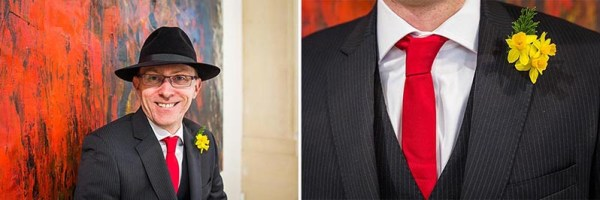 groom-southampton-art-gallery, daffodil buttonhole