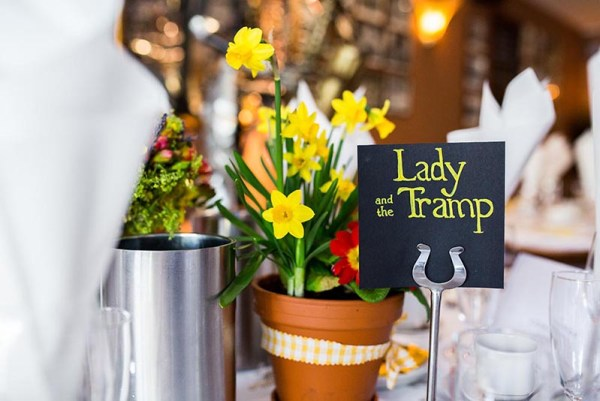 lady-and-the-tramp-wedding-table-centre-piece, nick rutter photo, wedding reception, moldy fig, disney table names