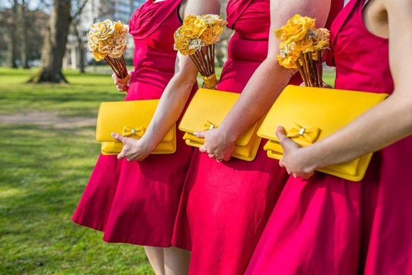 red-bridesmaids-dresses-and-yellow-purses, nick rutter photo