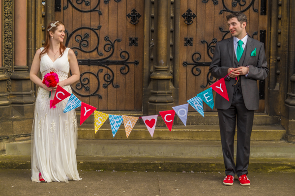 village hall wedding, jenny packham dress, crocheted veil, Take aim photography, colourful wedding, crocheted bouquets, handmade wedding