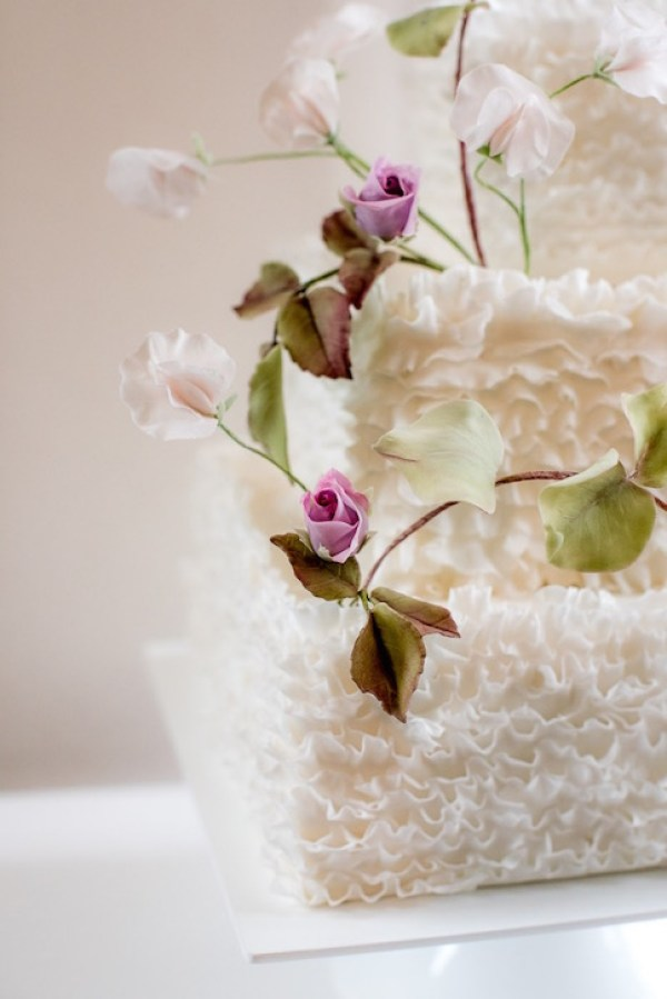 rose and ruffle wedding cake, image by stillmotion