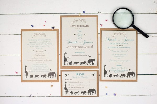 elegance_safari_collection, talk_of_the_town_parties, recycled wedding stationery