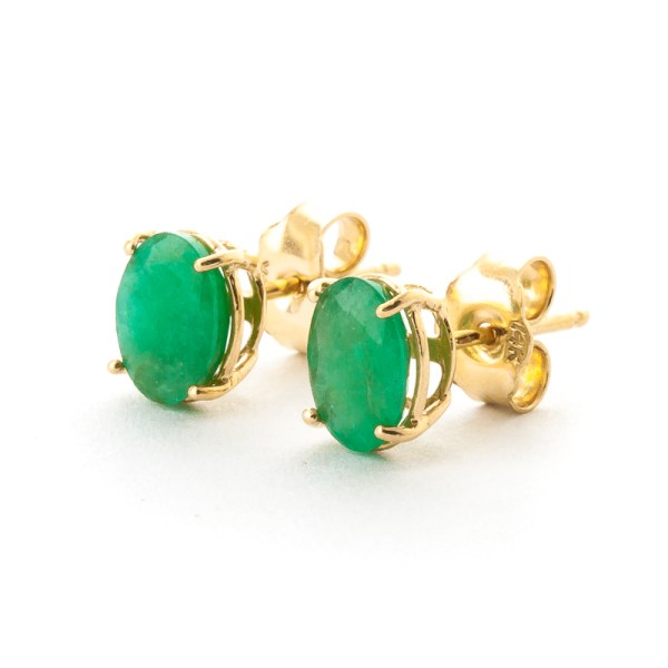 gold-1-50ct-emerald-oval-stud-earrings, bridal party jewellery