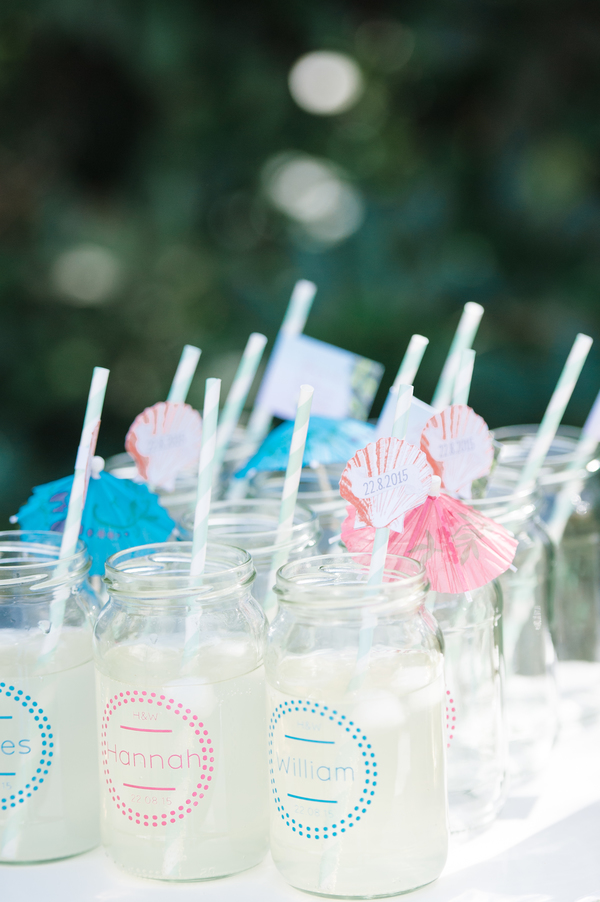 jam jars - message in a bottle , tropical wedding, tropical wedding styled shoot, hannah mclune photo, stoke place,