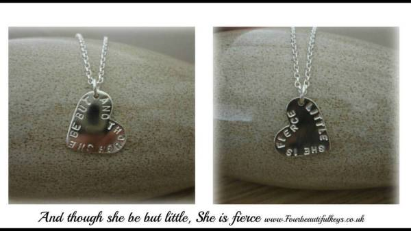 And though she was little, she was fierce necklace, silver jewellery, four beautiful keys