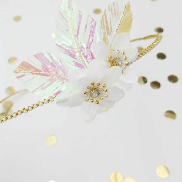 Celeste-Silk-flower-and-Pearl-Leaf-Halo, Fifth-and-Spring, headpieces, bridal headpieces, bridal accessories