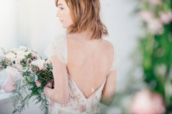Pandora pearl and crystal lariat rose gold backdrop - chez bec - £75, liberty in love, wedding accessories
