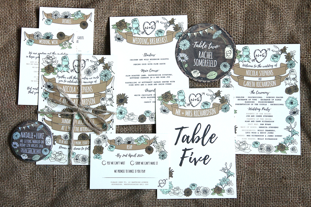 Whimsical Woodland Stationery Range, wedding save the dates, wedding save the date magnets