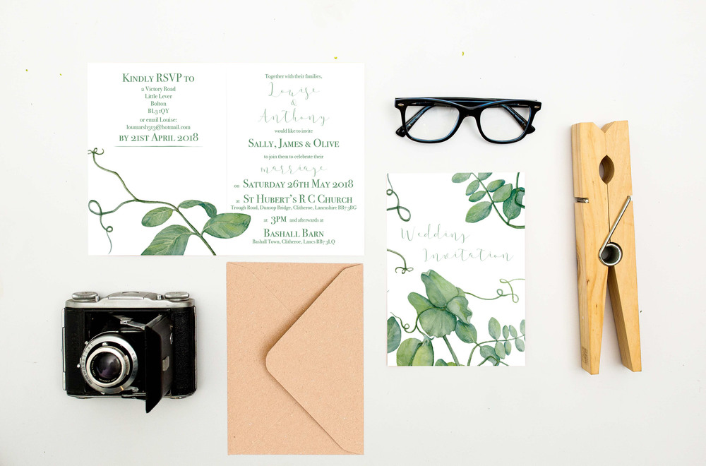 botanical-range, think good get hitched, wedding stationery,