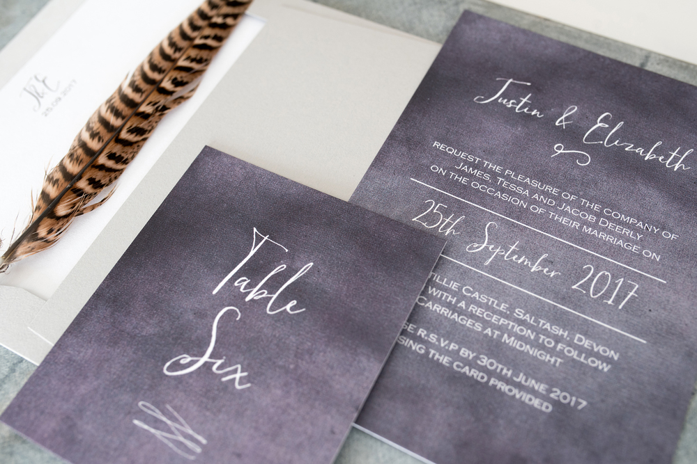 stormy-skies-luxe-wedding-invitations, knots and kisses, Wedding stationery, image - Clare Kinchin Photography
