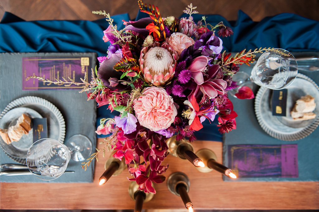 Dark Fairytale inspired Wedding - Wit Photography - wedding flowers - Edenique Floral Design - table setting