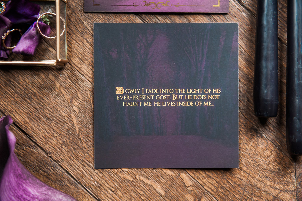 Dark Fairytale inspired Wedding - Wit Photography - wedding stationery - silver lining