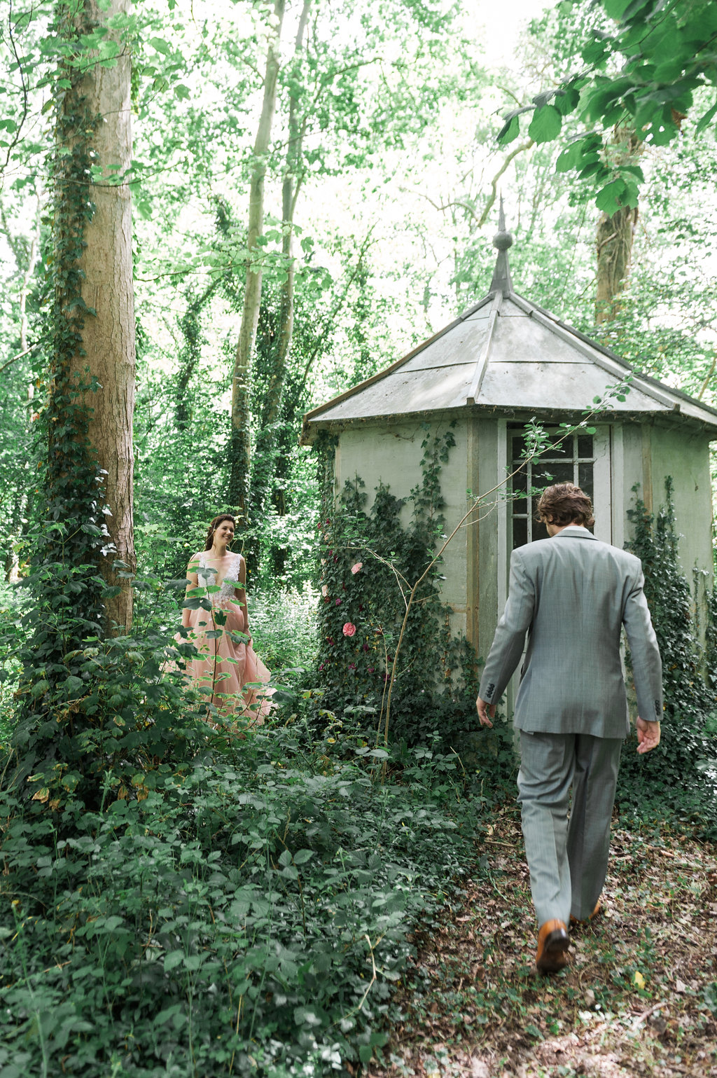 Dark Fairytale inspired Wedding - Wit Photography - Isle de L'Authie France - woods - groom walking