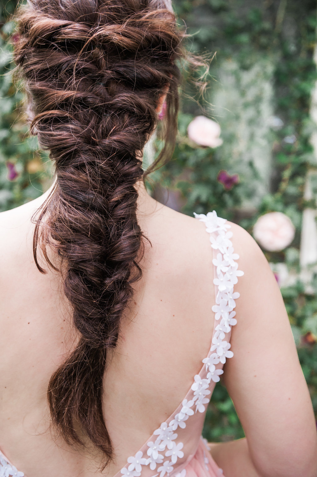 Dark Fairytale inspired Wedding - Wit Photography - Isle de L'Authie France - woods - hair by The beautiful Bride Company Netherlands - fishtail braid - rapunzel hair