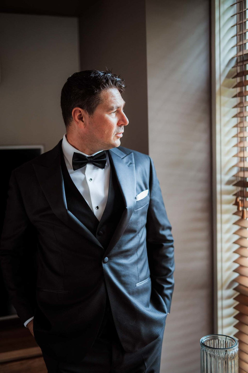 old hollywood inspired wedding - Clarte Photography - groom in tuxedo