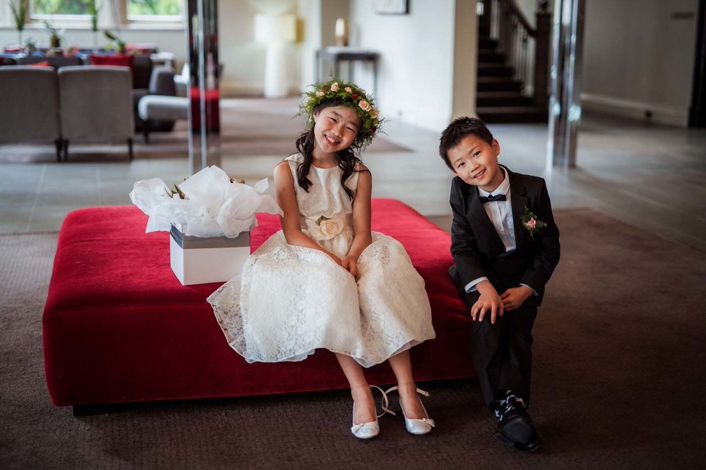old hollywood inspired wedding - Clarte Photography - flowergirl and pageboy