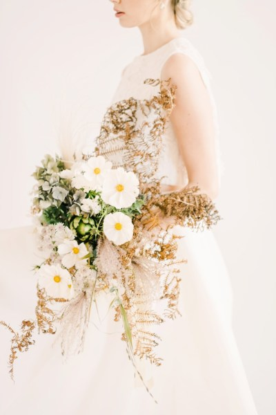 An ethereal and feminine porcelain inspired bridal shoot with delicate accents of peach and mint green