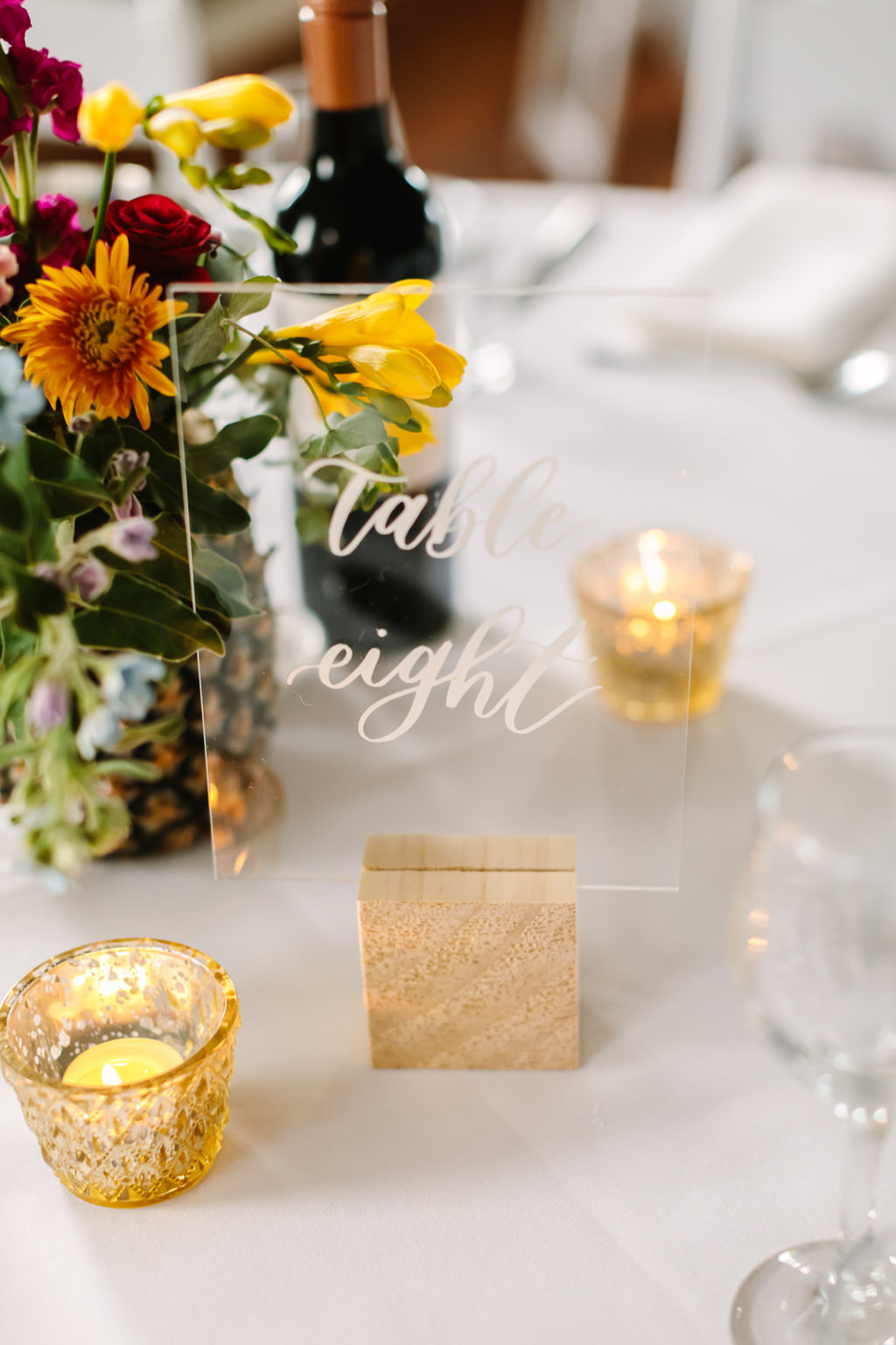 perspex table number - wedding reception - tropical themed wedding - Gemma Clarke Photography