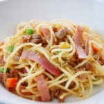 Garlic Minced Pork Spaghetti 香蒜肉絲意粉