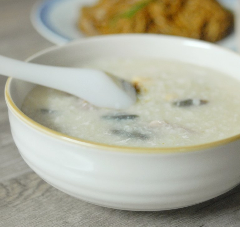 Congee with Pork and Century Eggs