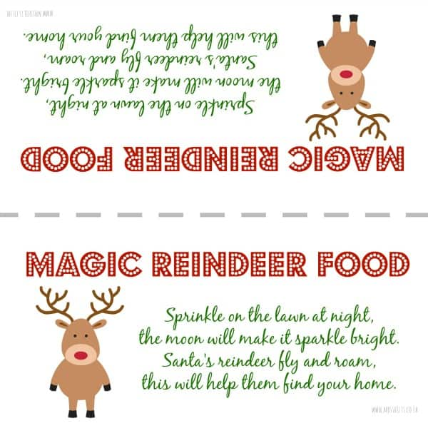 Geeky image with reindeer food labels printable