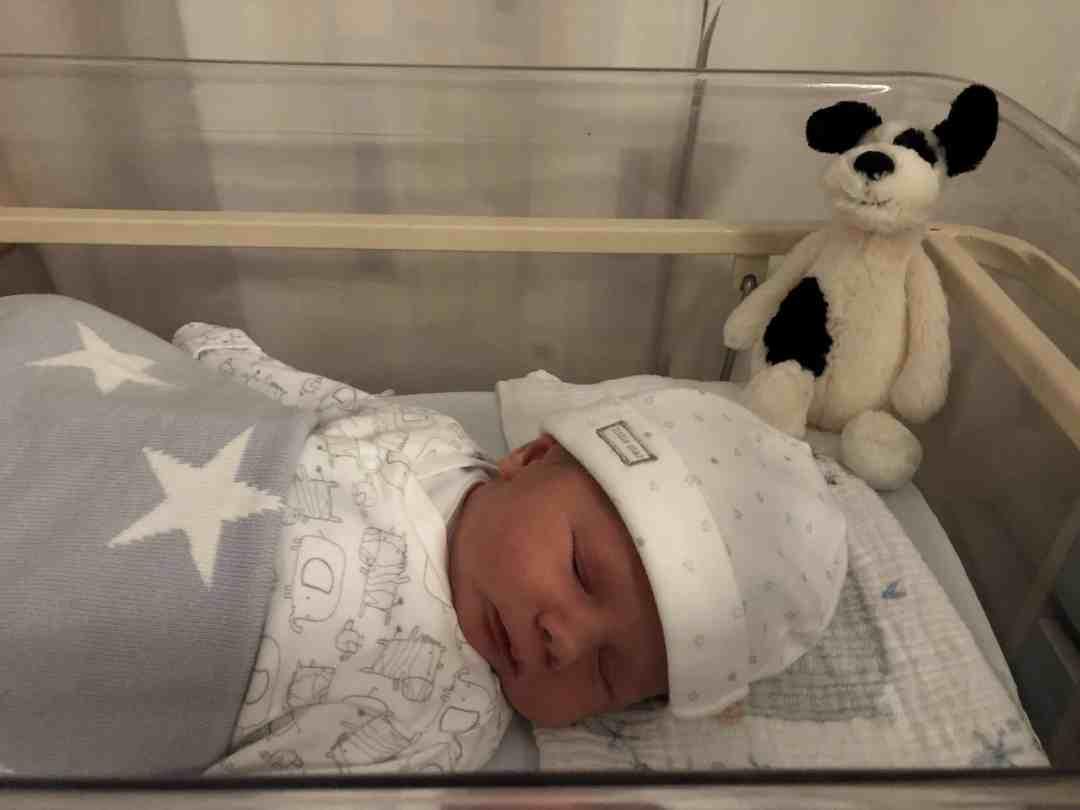 Freddie Benjamin in hospital one day old