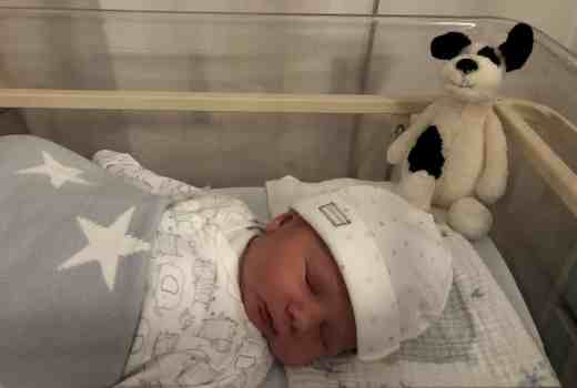 Freddie Benjamin in hospital one day old