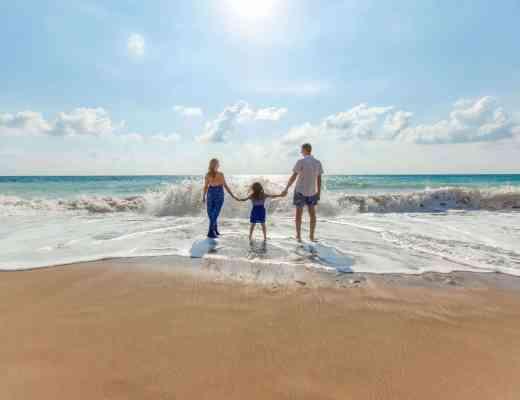family travel on beach