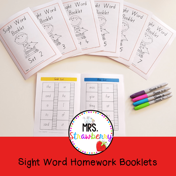 Sight Word Practice Booklets K-6 Homework
