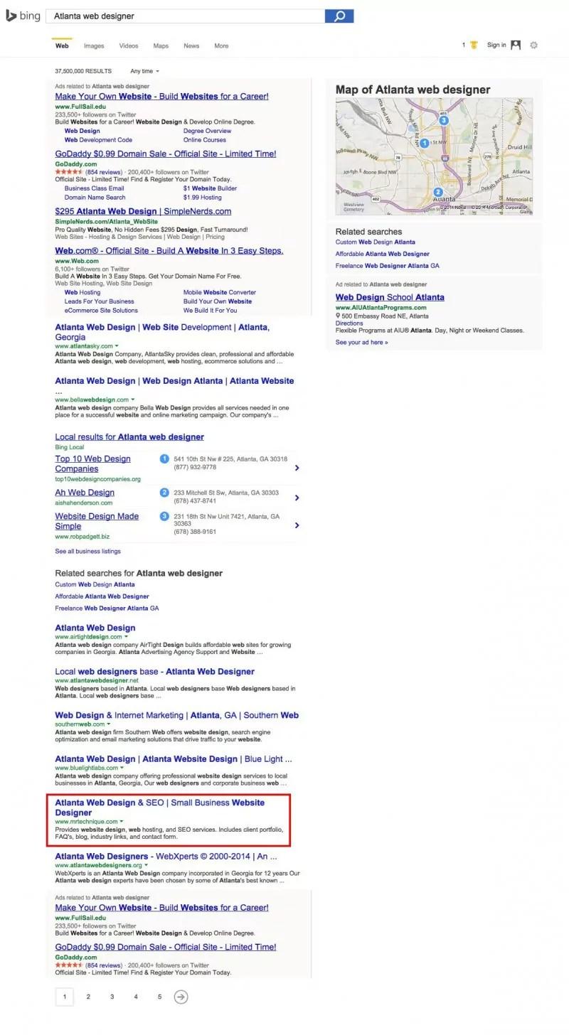 Atlanta web designer Bing search results screenshot