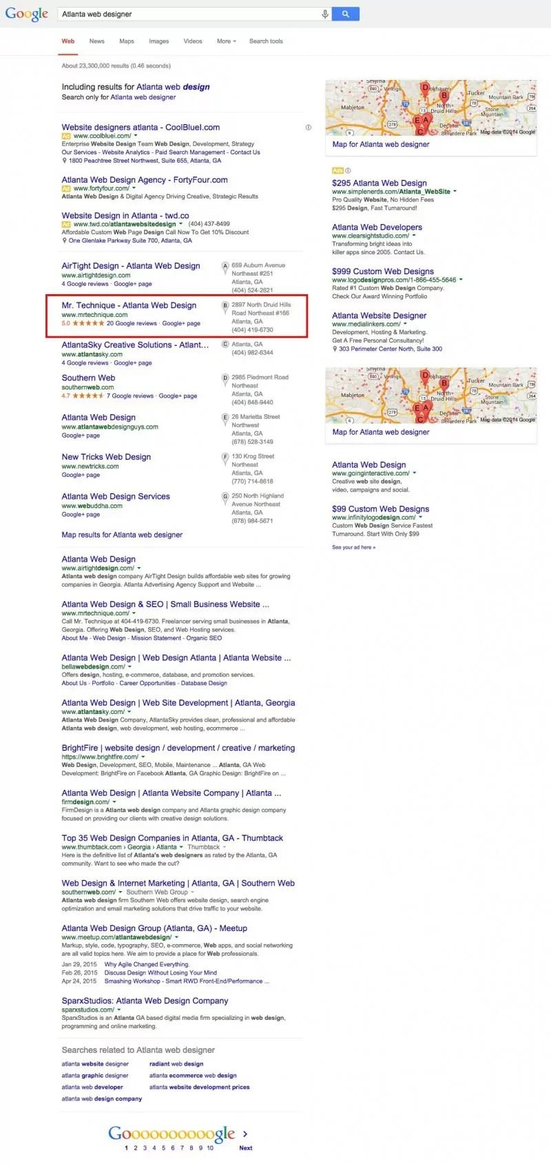Atlanta web designer Google screenshot