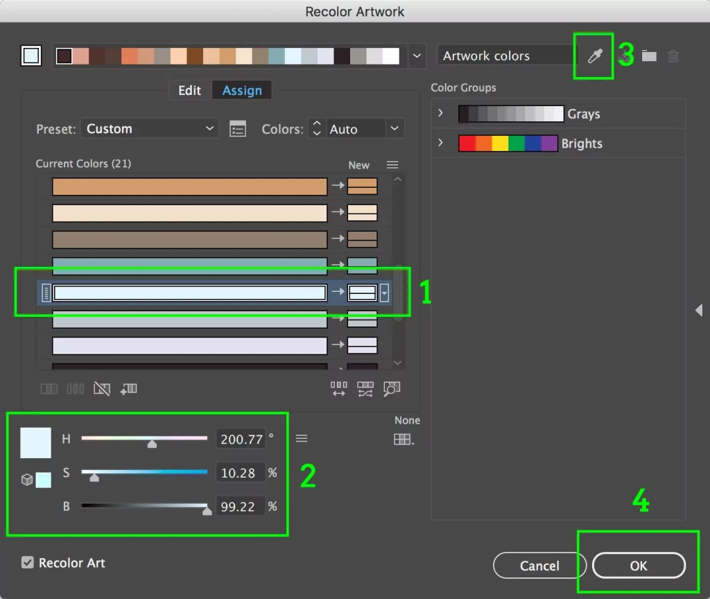 Adobe Illustrator Recolor Artwork Window