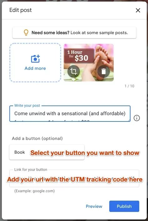 Adding a url with a UTM code in a GMB post